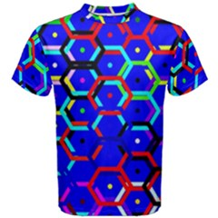 Blue Bee Hive Pattern Men s Cotton Tee