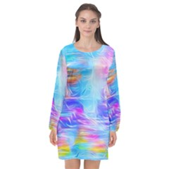 Background Drips Fluid Colorful Long Sleeve Chiffon Shift Dress  by Sapixe