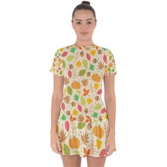 Thanksgiving Pattern Drop Hem Mini Chiffon Dress by Valentinaart
