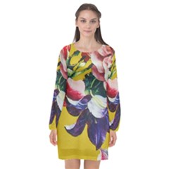 Textile Printing Flower Rose Cover Long Sleeve Chiffon Shift Dress  by Sapixe