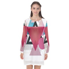 Geometric Line Patterns Long Sleeve Chiffon Shift Dress
