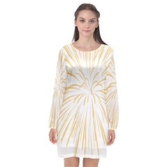 Yellow Firework Transparent Long Sleeve Chiffon Shift Dress  by Mariart
