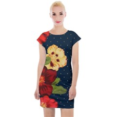 Flowers Vintage Floral Cap Sleeve Bodycon Dress by Wegoenart