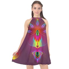 Abstract Bright Colorful Background Halter Neckline Chiffon Dress  by Wegoenart