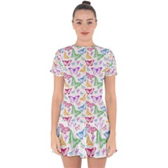 Colorfull Butterflies Drop Hem Mini Chiffon Dress by TimelessFashion