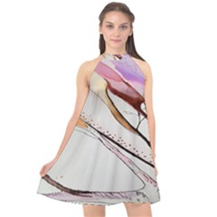 Art Painting Abstract Canvas Halter Neckline Chiffon Dress  by Pakrebo