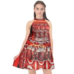 Mechanical Droid Mandelbulb Halter Neckline Chiffon Dress  by Pakrebo