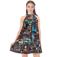 Stained Glass Mosaic Abstract Halter Neckline Chiffon Dress  by Pakrebo