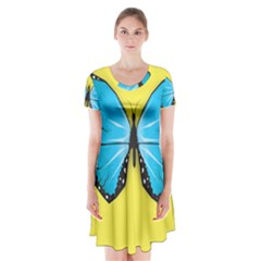 Butterfly Blue Insect Short Sleeve V-neck Flare Dress