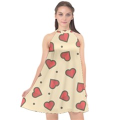 Love Heart Seamless Valentine Halter Neckline Chiffon Dress  by Alisyart