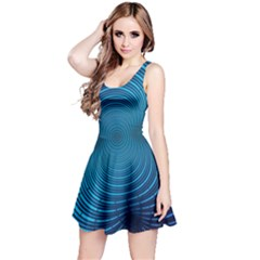 Background Brush Particles Wave Reversible Sleeveless Dress