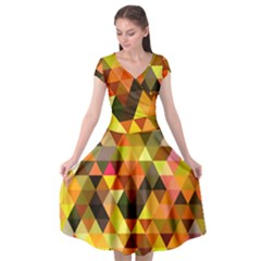 Abstract Geometric Triangles Shapes Cap Sleeve Wrap Front Dress