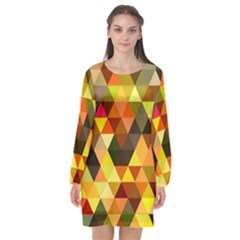 Abstract Geometric Triangles Shapes Long Sleeve Chiffon Shift Dress  by Mariart