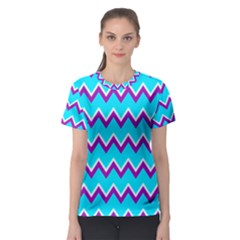 Chevron Pattern Background Blue Women s Sport Mesh Tee
