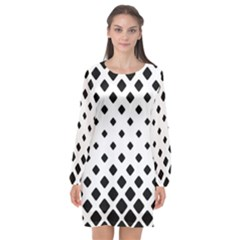 Garden Halftone Paving Long Sleeve Chiffon Shift Dress