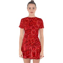 Red Pattern Technology Background Drop Hem Mini Chiffon Dress by Mariart