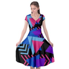 Memphis Pattern Geometric Abstract Cap Sleeve Wrap Front Dress by Pakrebo