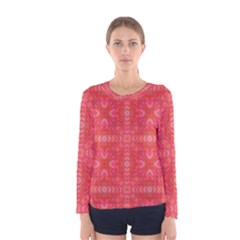 Triangle Mosaic Red Pattern Mirror Women s Long Sleeve Tee