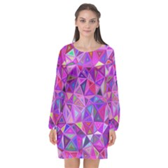 Pink Triangle Background Abstract Long Sleeve Chiffon Shift Dress  by Mariart