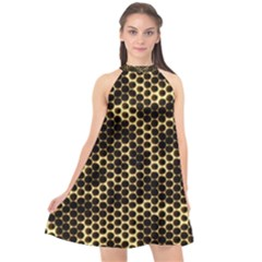 Honeycomb Beehive Nature Halter Neckline Chiffon Dress  by Mariart