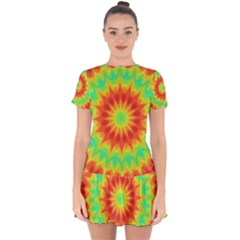Kaleidoscope Background Mandala Red Green Drop Hem Mini Chiffon Dress by Mariart