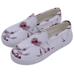 Purple Flowers Bring Cold Showers Kids  Canvas Slip Ons by WensdaiAmbrose