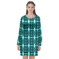 Background Plaid Long Sleeve Chiffon Shift Dress