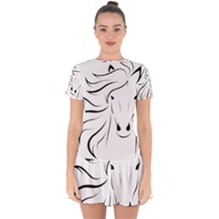 Animal Equine Face Horse Drop Hem Mini Chiffon Dress by Wegoenart