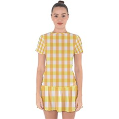 Gingham Duo Orange On Yellow Drop Hem Mini Chiffon Dress by retrotoomoderndesigns