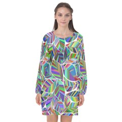 Leaves Leaf Nature Ecological Long Sleeve Chiffon Shift Dress  by Mariart