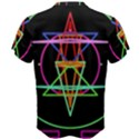 Drawing Of A Color Mandala On Black Men s Cotton Tee View2