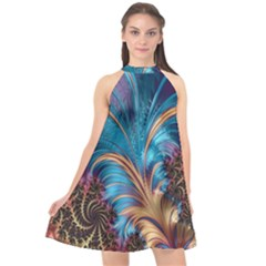Fractal Art Artwork Psychedelic Halter Neckline Chiffon Dress  by Sudhe