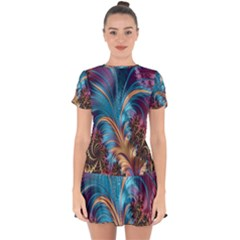 Fractal Art Artwork Psychedelic Drop Hem Mini Chiffon Dress by Sudhe