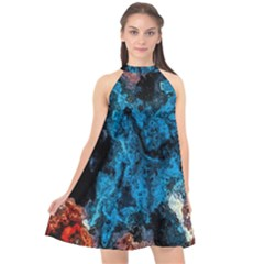 Abstract Fractal Magical Halter Neckline Chiffon Dress  by Sudhe