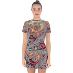 Fractal Artwork Design Pattern Drop Hem Mini Chiffon Dress by Sudhe