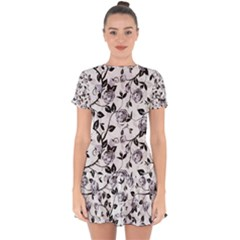 Floral Pattern Background Drop Hem Mini Chiffon Dress by Sudhe