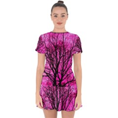 Pink Silhouette Tree Drop Hem Mini Chiffon Dress by Sudhe