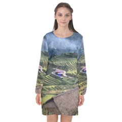 Rock Scenery The H Mong People Home Long Sleeve Chiffon Shift Dress  by Sudhe