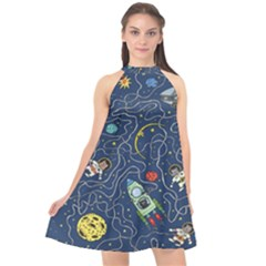 Cat Cosmos Cosmonaut Rocket Halter Neckline Chiffon Dress  by Sudhe