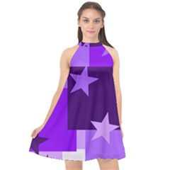 Purple Stars Pattern Shape Halter Neckline Chiffon Dress  by Alisyart
