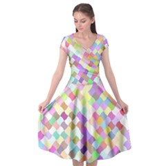 Mosaic Colorful Pattern Geometric Cap Sleeve Wrap Front Dress