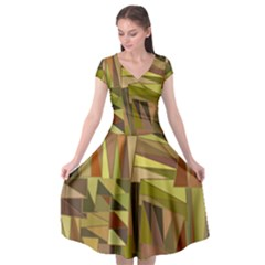 Earth Tones Geometric Shapes Unique Cap Sleeve Wrap Front Dress by Mariart