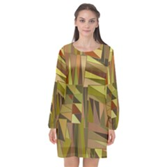 Earth Tones Geometric Shapes Unique Long Sleeve Chiffon Shift Dress