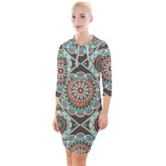 Seamless Pattern Colorful Wallpaper Quarter Sleeve Hood Bodycon Dress by Pakrebo