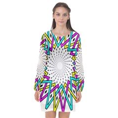 Sun Abstract Mandala Plaid Long Sleeve Chiffon Shift Dress