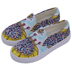 Bees At Work In Blue  Kids  Canvas Slip Ons by okhismakingart