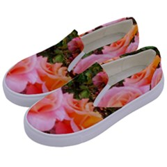 Pink Rose Field Kids  Canvas Slip Ons by okhismakingart