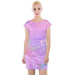 Iridescent Marble Cap Sleeve Bodycon Dress by tarastyle