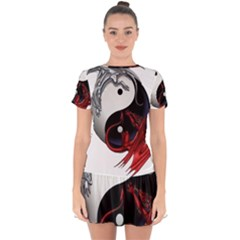 Yin And Yang Chinese Dragon Drop Hem Mini Chiffon Dress by Sudhe