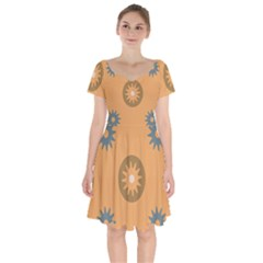 Flowers Screws Rounds Circle Short Sleeve Bardot Dress